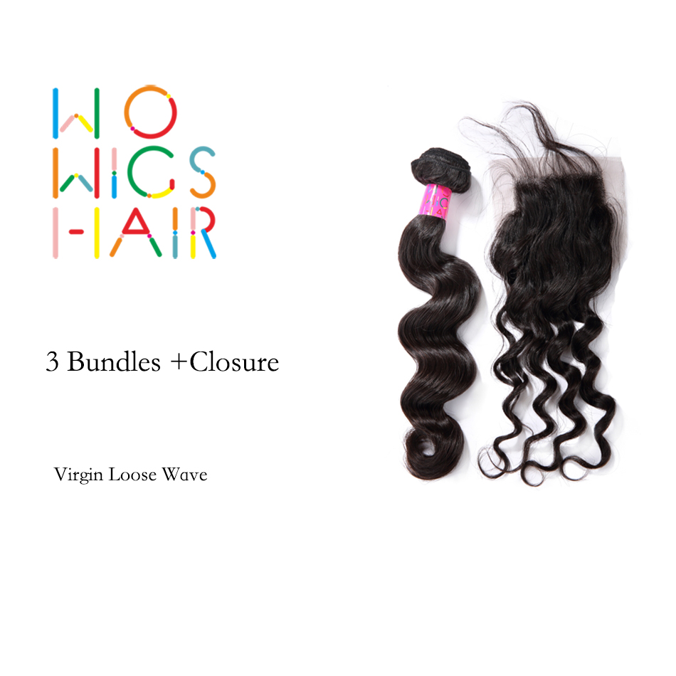 ФОТО WoWigs Hair Brazilian Virgin Hair Loose Wave 3 Bundles Deal With Top Lace Closure Natural Color 1B