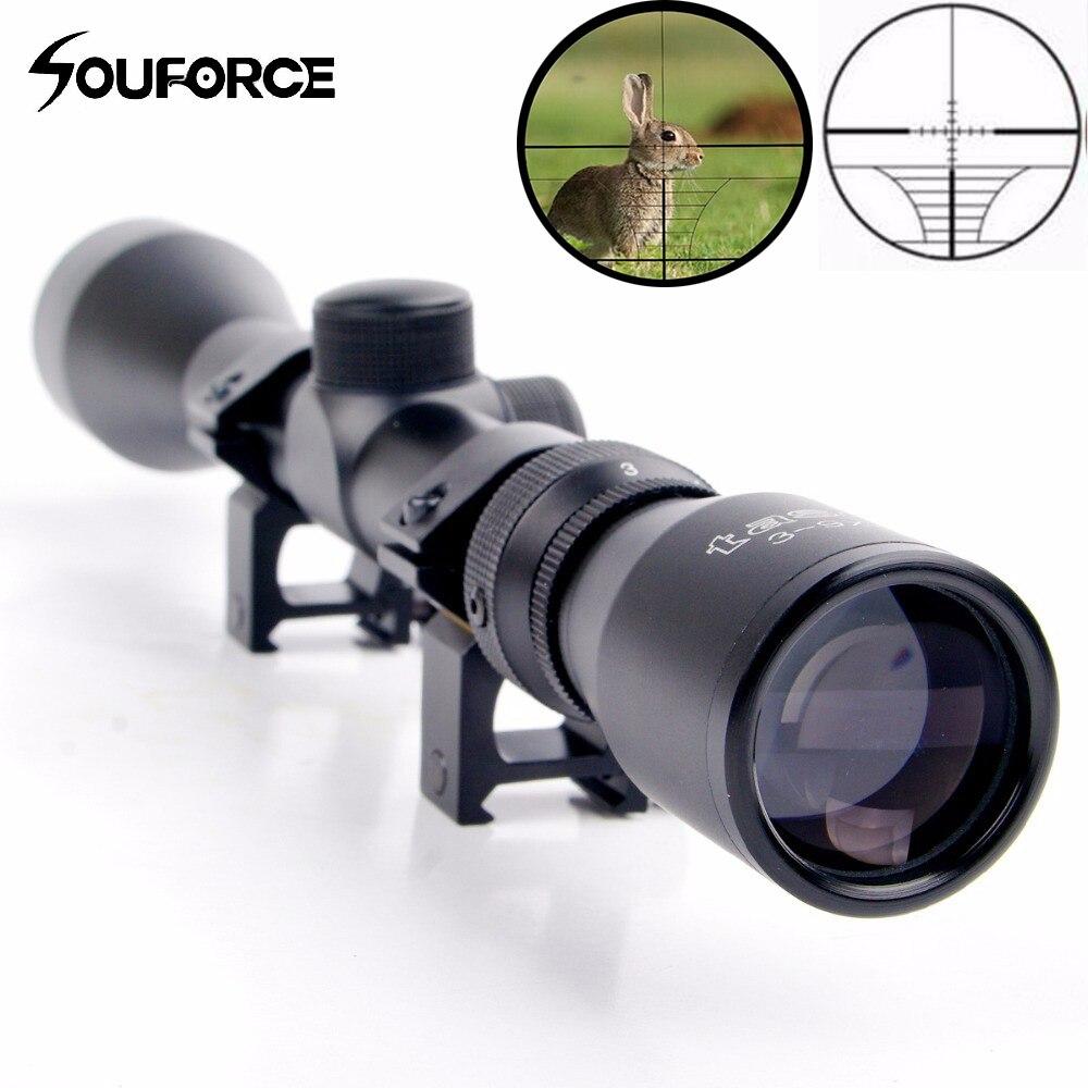 3 9x40 Hunting Riflescope Air Gun Riflescope Air Optics Scope with 20mm Rail Mount for 20mm Picatinny Rail