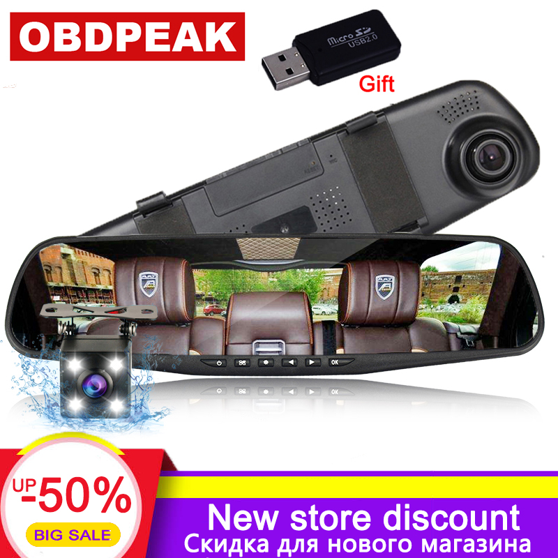 Video Registrator Camcorder Car-Dvr-Camera Rearview-Mirror Dash-Cam Dual-Lens Auto-Dvrs