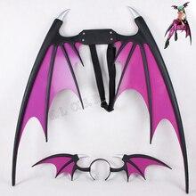 Вампир Темный Сталкер Морриган Aensland крылья и повязка на голову реквизит косплея из ПВХ Аксессуары