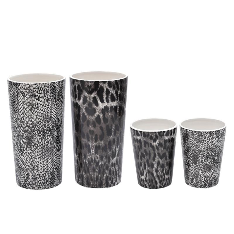 European style Leopard Snake flowers vase simulation ceramic vase pen study table decoration terrarium glass decor