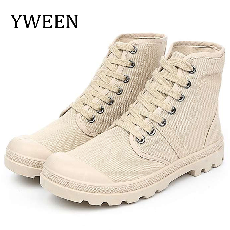 YWEEN Lace Up Men's Casual Shoes Spring Autumn High Top Men's Army Shoes Men Casual Canvas Shoes Male High Quality Shoes