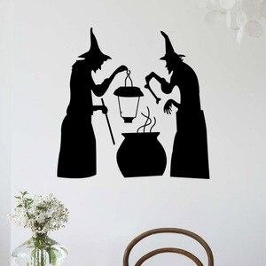 Image 1 - Halloween czarny diabeł duch naklejki ścienne winylowe Vintage plakat pcv nawiedzonego domu naklejki ścienne dla dzieci pokoje