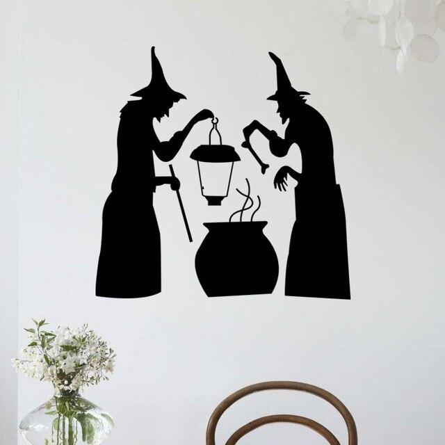 هالوين الأسود الشيطان شبح جدار ملصقا الفينيل خمر المشارك PVC مسكون المنزل الشارات غرف الاطفال