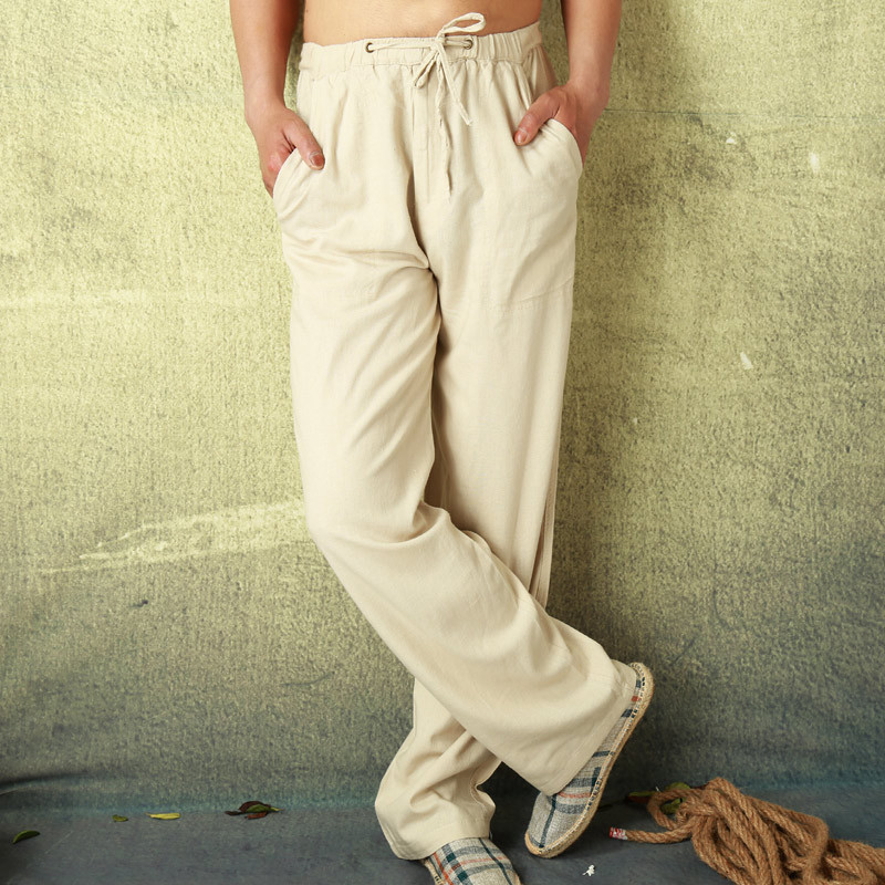 Mens Linen Cotton Pants Full Length Summer Loose Light Casual Linen Trousers Man Leisure Home Comfortable Pants Male  PT-196