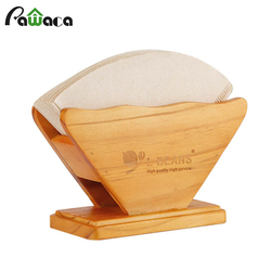 Wooden Coffee Filter Holder Dispenser Rack Stand Fan Shape Coffee Filter Storage Paper Display Shelf Tissue Box Coffee Tools
