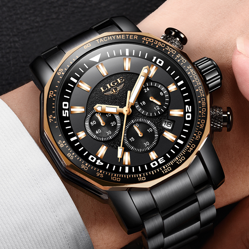 LIGE Top Luxury Brand Mens Waterproof Quartz Watches Business Big Dial Fashion Casual Sprot Full Black Men Wristwatch Male Clock