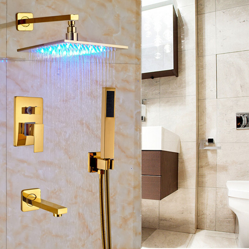 LED Light Color Changing Gold Finish 10 Brass Shower Head with Tub Spout & ABS Handshower
