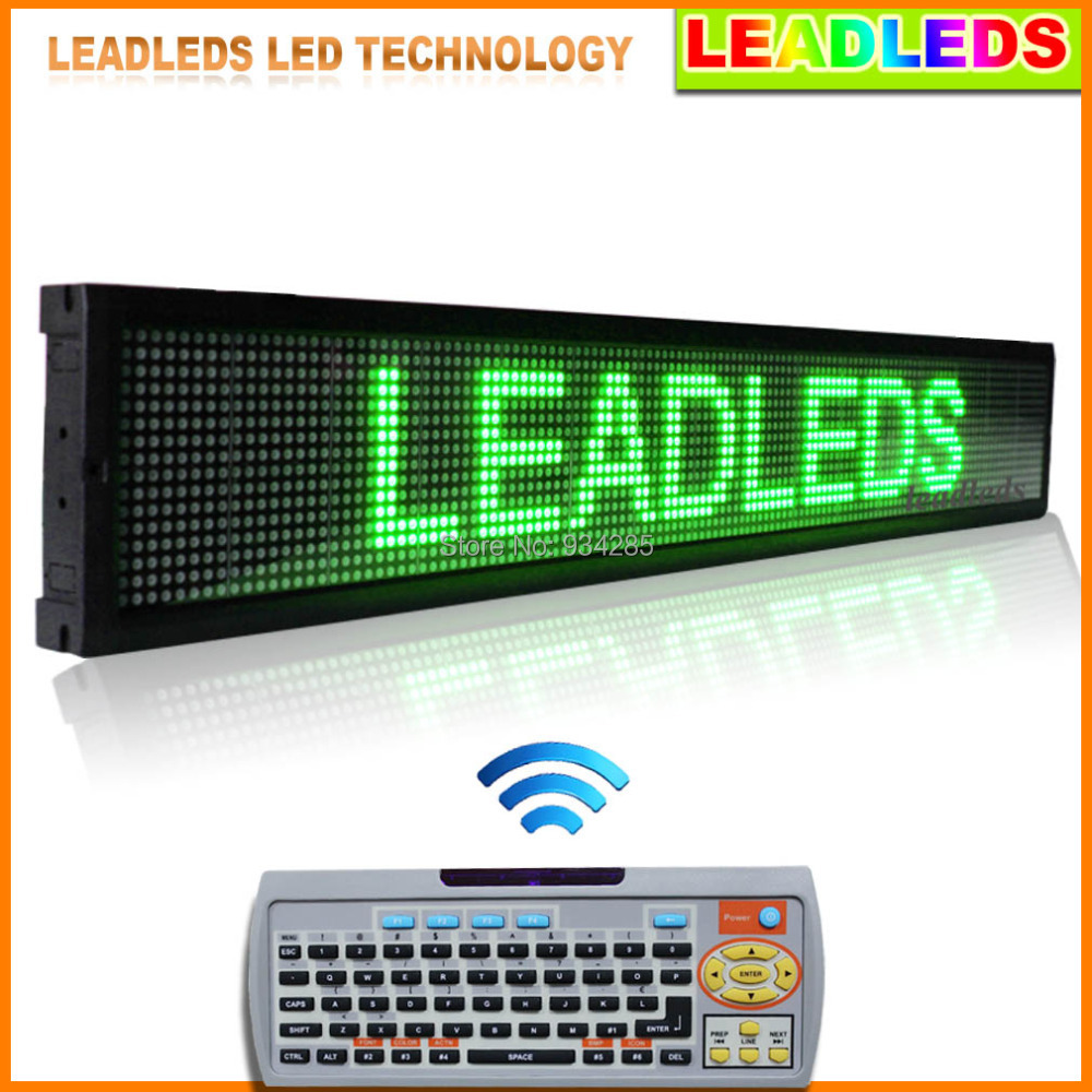 LEADLEDS Car Display LED Green Programmable 40 X 6.3 Scrolling LED Sign High Bright LED Advertising Screen Display Outdoor clear acrylic a3a4a5a6 sign display paper card label advertising holders horizontal t stands by magnet sucked on desktop 2pcs