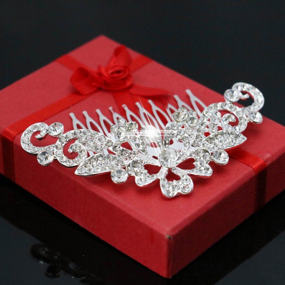 3af2cd8001d1 Nueva flor de cristal horquilla del pelo peine Clips moda novia de la boda  joyería femenina para las mujeres Accesorios regalo del Día de San Valentín