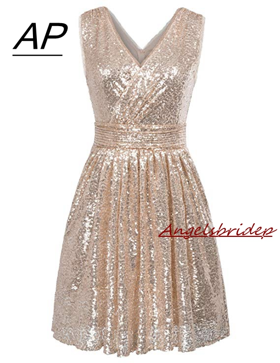 Angelsbridep Sexy V-neck Mini Homecoming Dress 2019 Short Sequin Special Occasion Cute 8th Grade Graduation Dresses Zipper Back Excellent In Cushion Effect