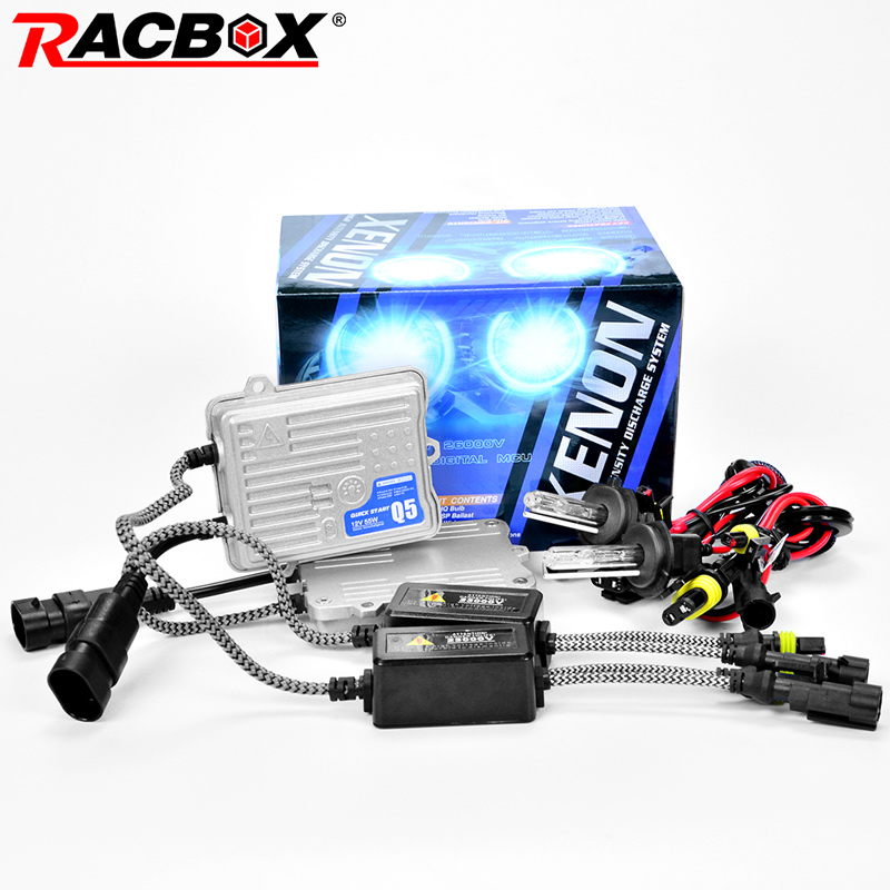 RACBOX 55W Quick Start HID Xenon Conversion Headlight Kit 12V H1 H3 H4 H7 H8 H9 H11 9005 HB3 9006 HB4 4300K 6000K 8000K 12000K headlight 35w hid xenon bulb slim ballast kit h1 h3 h7 h8 h9 h11 9005 hb3 9006 hb4 4300k 6000k 8000k free shipping