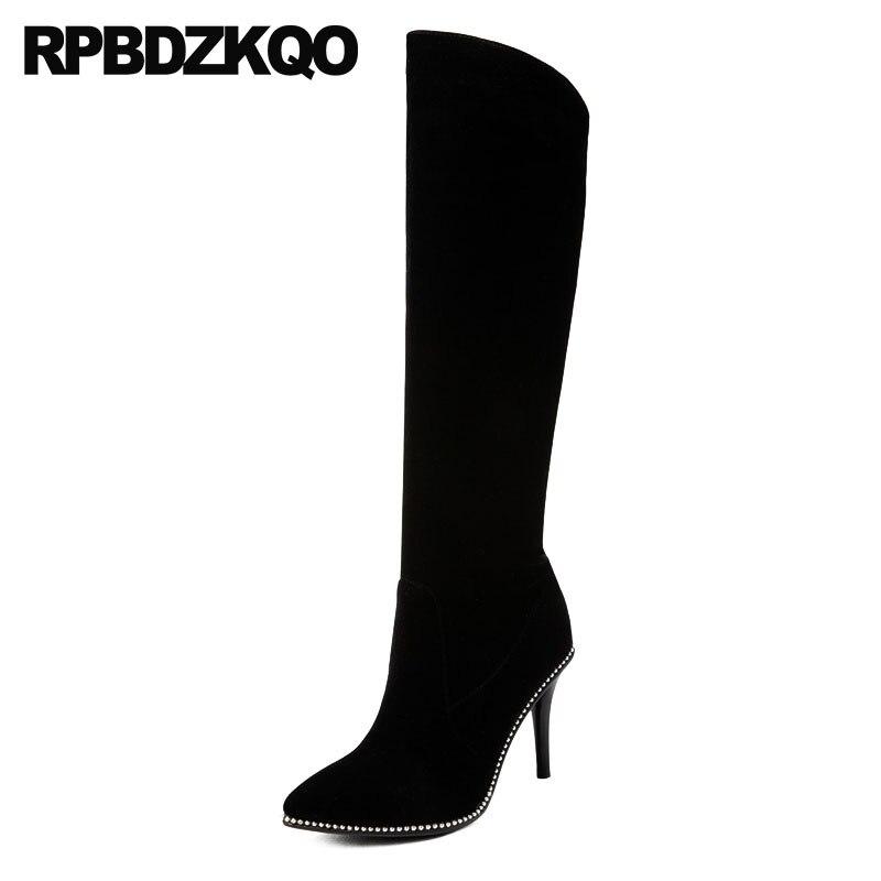 ba13b4edd2b7 Pointu Noir Sexy Designer Peau Cuir Genou Rivet Mince Chaussures Marque  Bottes Bout À Talons Hauts Boucles Véritable Femmes ...