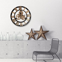 Vintage clocks fashion watches 3d real big wall clock rushed mirror sticker European Steampunk Gear Wall diy living room decor