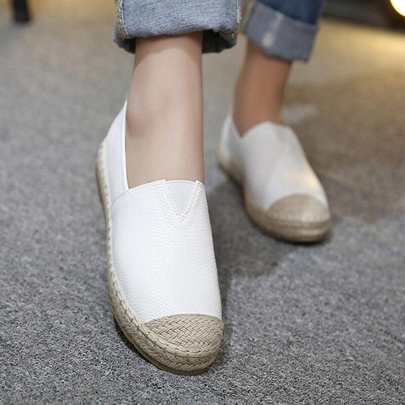2018 Nuovi Mocassini Tessuto Di Paglia Ballerine Casual Pescatore Donna Slip On Comfort Solido Delle Donne Scarpe Da Donna Appartamenti Di Scarpe
