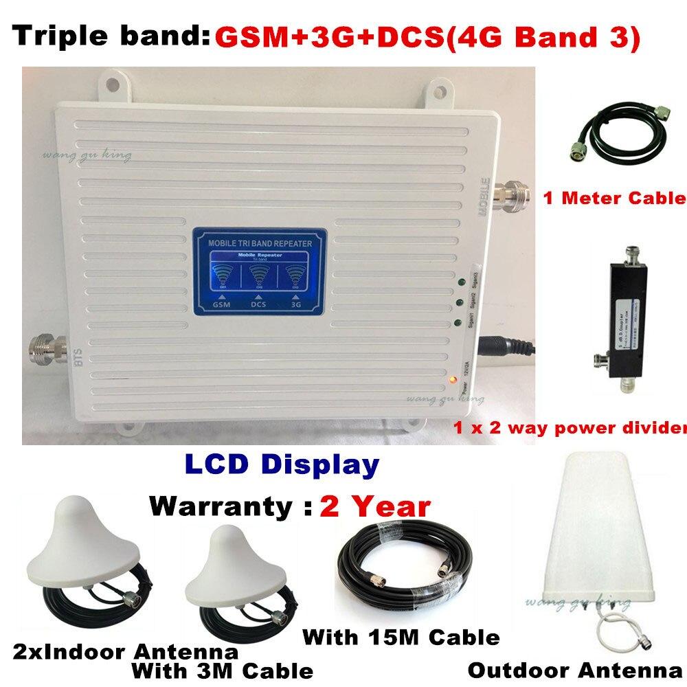 Tribanda para 2 habitaciones 2G 3G 4g GSM repetidor 900 WCDMA 2100 LTE 1800 celular amplificador de señal 70dB ganar repetidor gsm 3G 4G amplificador