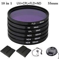 55mm Polarizing Neutral Density Photography Filter Kit Set UV+CPL+FLD+ND for Nikon Canon Sony Pentax DSLRs