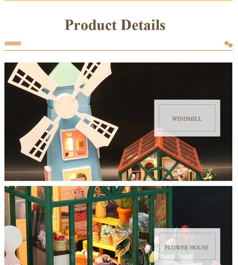 DIY Wooden Miniature Doll House for Children Adult Windmill Flower House with Furnitures Model Building Kits Dollhouse Toys (4)