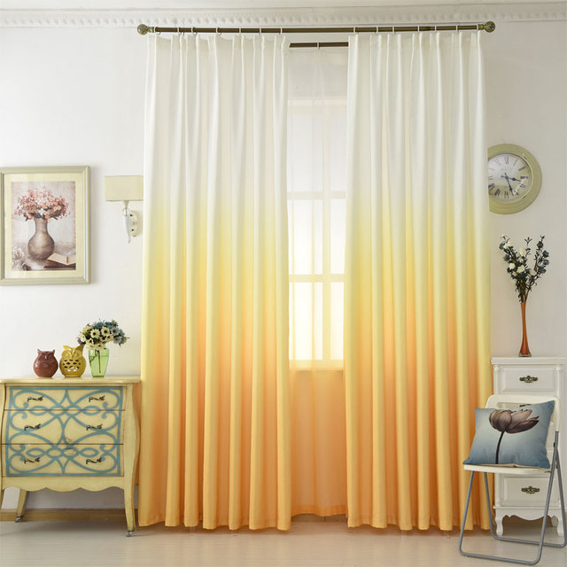 Gradient Color Curtains For Living Room Cotton Drapes For Bedroom Yellow  Korean Curtain Fabric +Voile