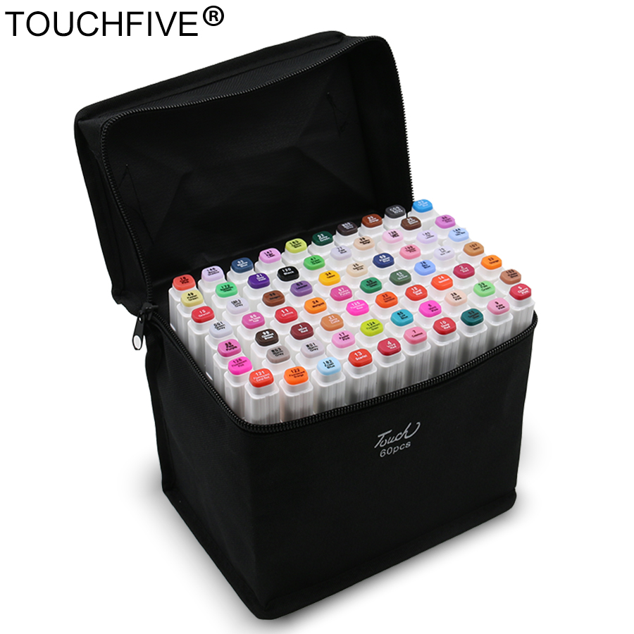 TouchFIVE 30/40/60/80/168, conjunto de marcadores artísticos de doble cabeza, marcadores a base de Alcohol oleoso para Manga de animación 1 unidad de rotulador comestible Wilton, rotulador comestible para alimentos, rotulador para colorear, rotulador comestible para alimentos