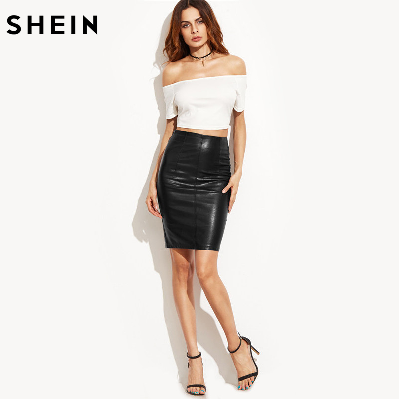 78bdb1ca92 SHEIN Women Autumn Style Above Knee Skirts New Arrival Elegant Ladies  Fashion Plain Black Faux Leather Skinny Skirt-in Skirts from Women's  Clothing on ...