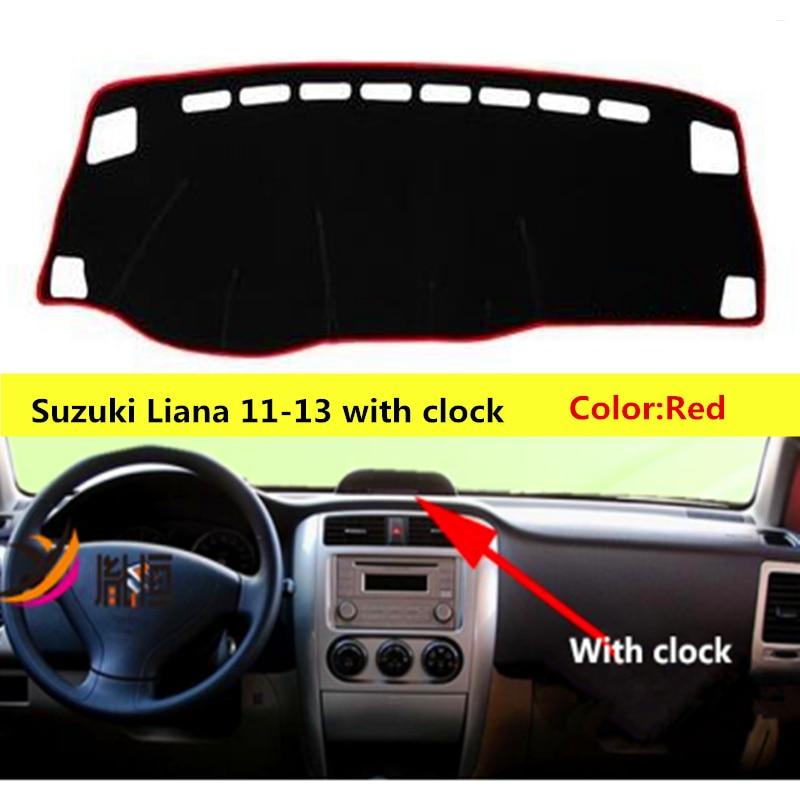 TAIJS left-hand drive Car Dashboard cover rug for Suzuki Liana Dust proof car dashboard mat for Suzuki Liana 11-13 with clock