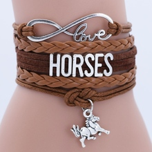 Antique Silver Infinity Alloy Cuff Charm Leather Bracelet Bangle With Horse For Women Kids Multilayer Bracelets Jewelry gorgeous multilayer knitted braid alloy cuff bracelet for women