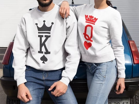 Plus Size Casual Hoodie Women Men Couple 2018 Valentine Gift King Queen Funny Poker Print Long Sleeve Loose Lovers Sweatshirts