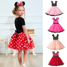 Girls Fancy Mickey Minnie Mouse Dress Cosplay Mini Mouse Costume Kids