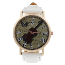 neutral Retro violin Rome digital Leather Watch White