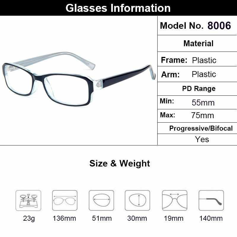 Gmei Optik Hitam Plastik Persegi Panjang Penuh Rim Bingkai Kacamata untuk Pria dan Wanita Resep Kacamata T8006