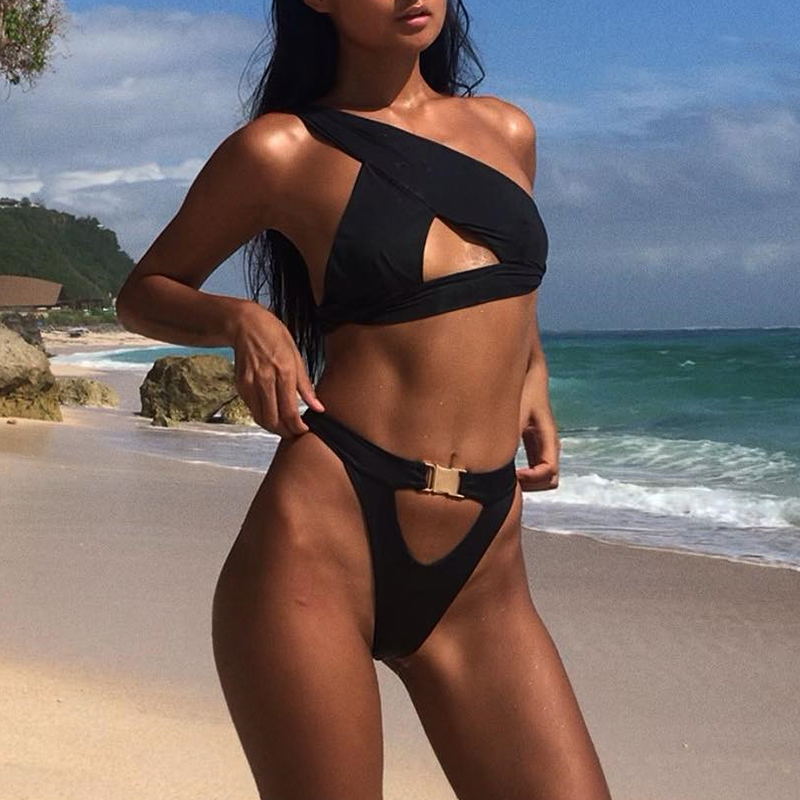 8c9a743c23 2019 In X One Shoulder Bikini 2019 Buckle High Cut Swimsuit Sexy ...