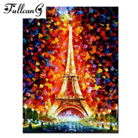 FULLCANG Eiffel Tower mosaic diamond painting cross stitch diy full square diamond embroidery scenery rhinestone painting E655