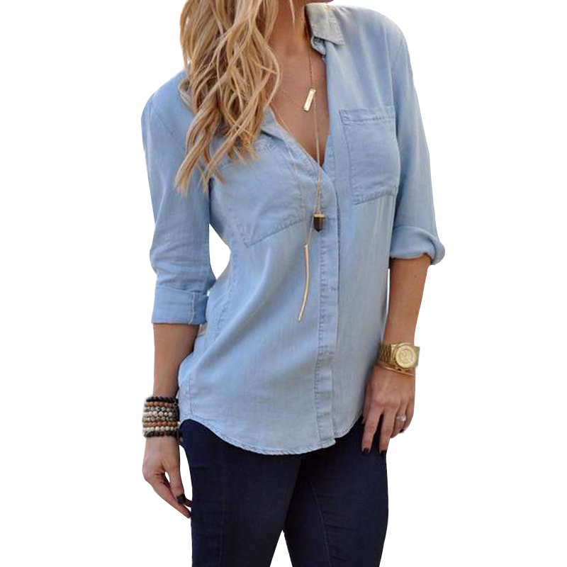 Lace girl women casual jean camisas de mezclilla manga