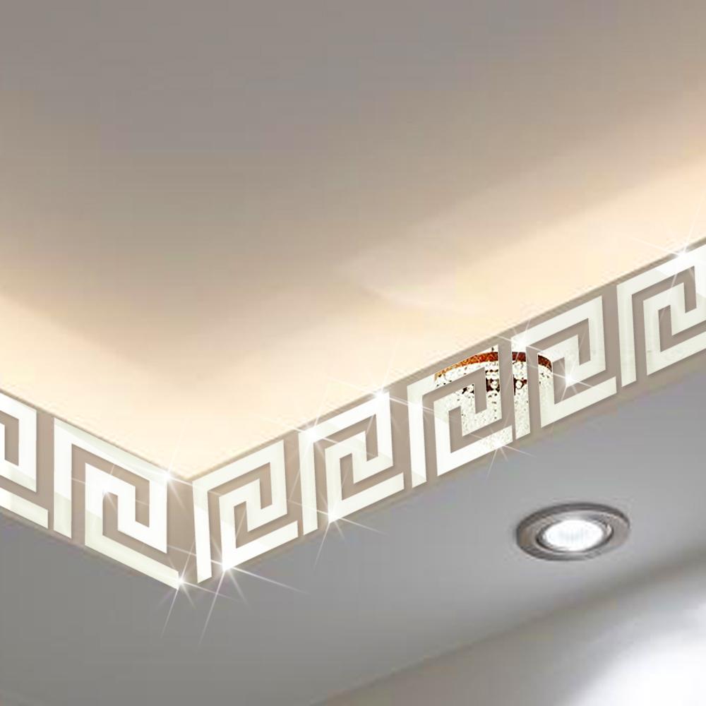 x cm x unids geomtrico moderno pared border sticker reflectante como un espejo para el