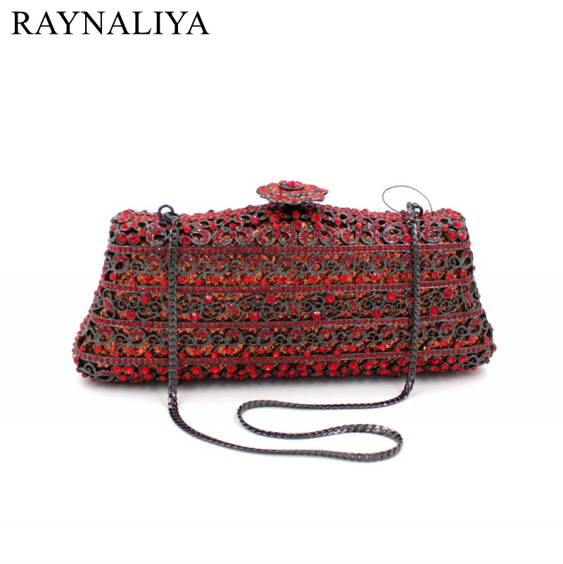 Women New Arrival And Luxury 2017 Metal Red Full Diamond Evening Clutch Hand Bag Female Bridal Shoulder Bags Wallet SMYZH-F0077 fuzzy metal clutch wallet