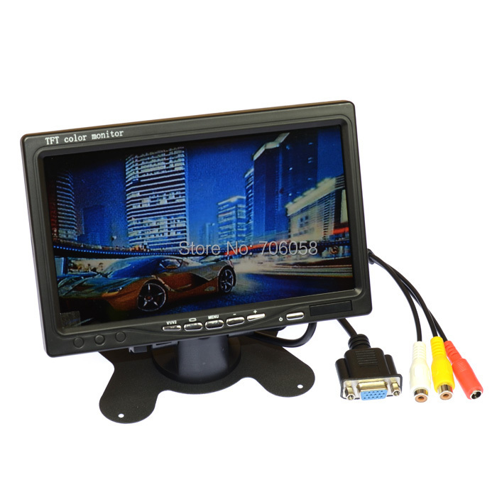 7 inch TFT LCD Color Display Screen Car monitor 800x600 HD digital VGA/AV Remote Control DVD VCR Support as Computer Screen