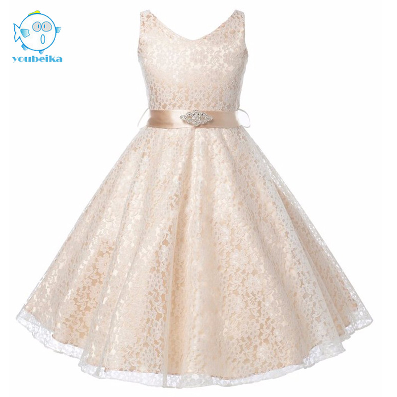 2017 New Flowers Girls Dress For Wedding And Party Bridesmaid Girls Clothes Summer Princess Dresses For Girls Lace White 8 10 12 summer 2017 new girl dress baby princess dresses flower girls dresses for party and wedding kids children clothing 4 6 8 10 year