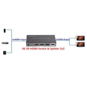 Image 5 - Adaptador divisor conmutador HDMI 4K 3D 3x2, conector extensor IR Control RC, fuente de alimentación para HDTV DVD PS3 PSP envío gratis