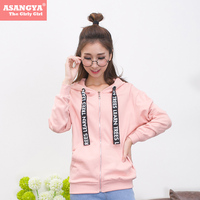 Asangya Women Sweatshirt 2017 Spring Casual Pure Color With Herringbone String Zip Up O Neck Warm