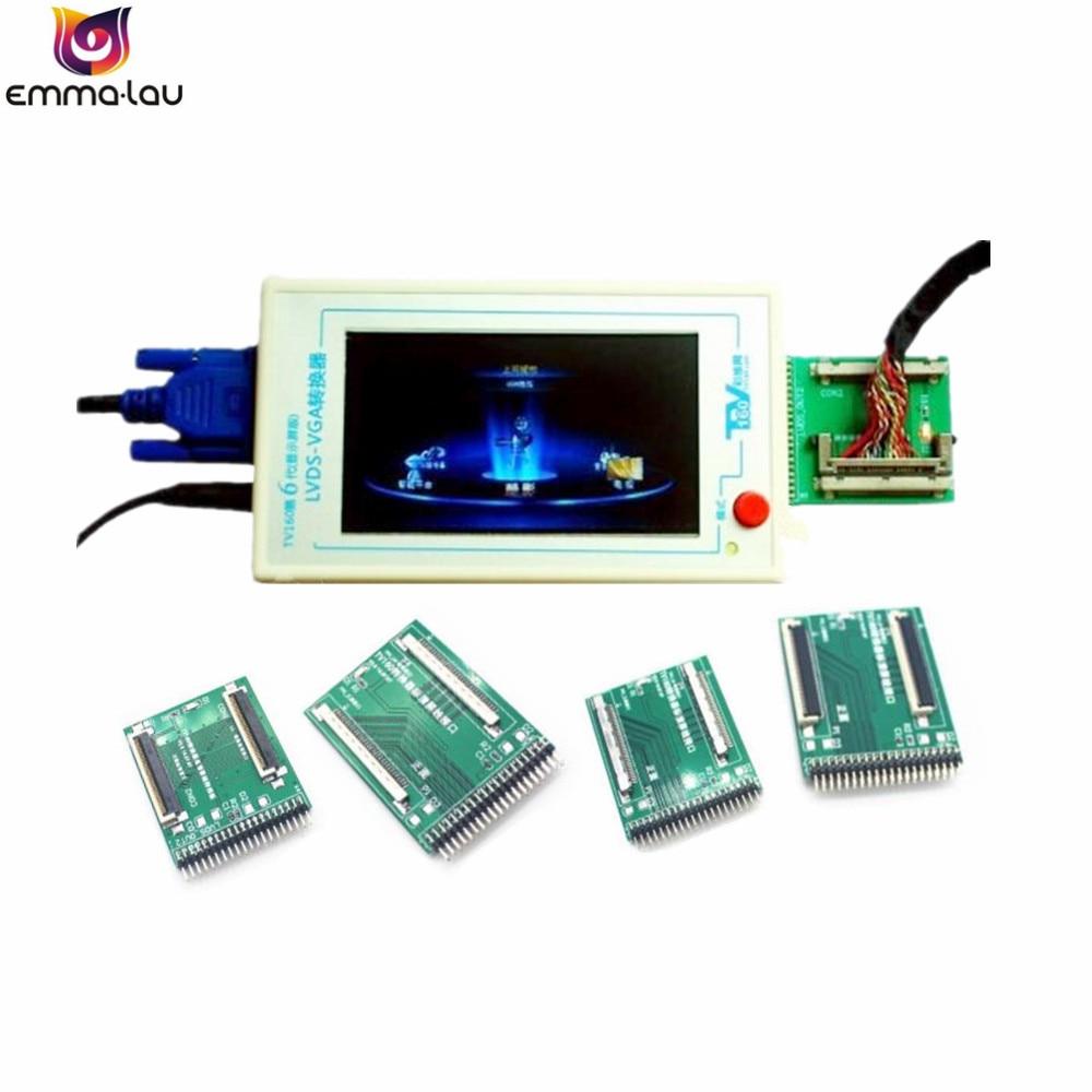 Officielles TV160 LVDS Tour VGA Convertisseur (avec LCD Écran Affichage Version) LCD/LED TV Carte Mère Testeur Outil + 5 Adaptateur Avions