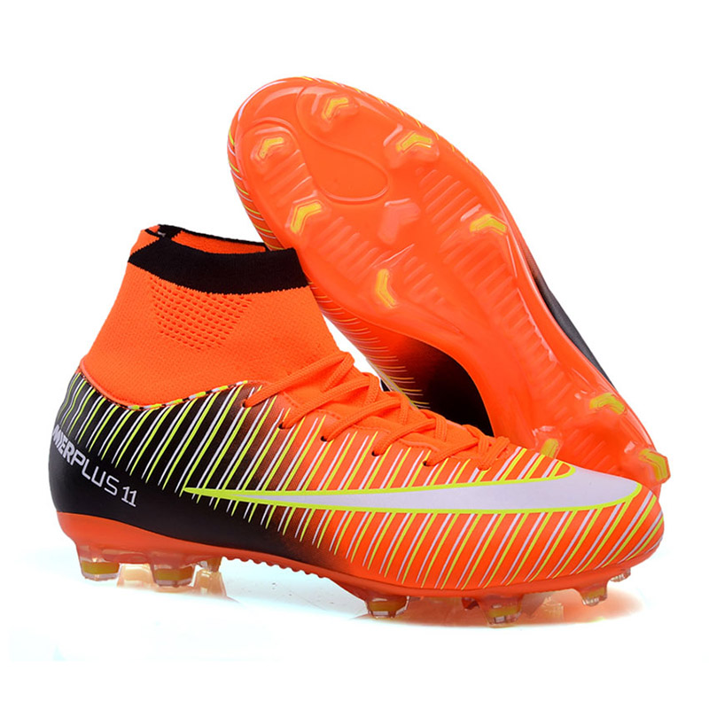e593643c1 Breathable Men s Soccer Shoes Football Women FG Soccer Cleats Outdoor  Sneakers Superfly Futsal Shoes High Ankle Football Boots-in Soccer Shoes  from Sports ...