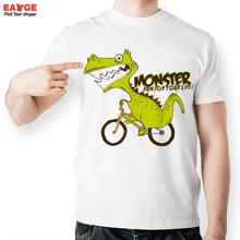 EATGE Monster Dinosaur Ride Bicycle Life Fashion Cool T shirt Funny Novelty Design T Shirt