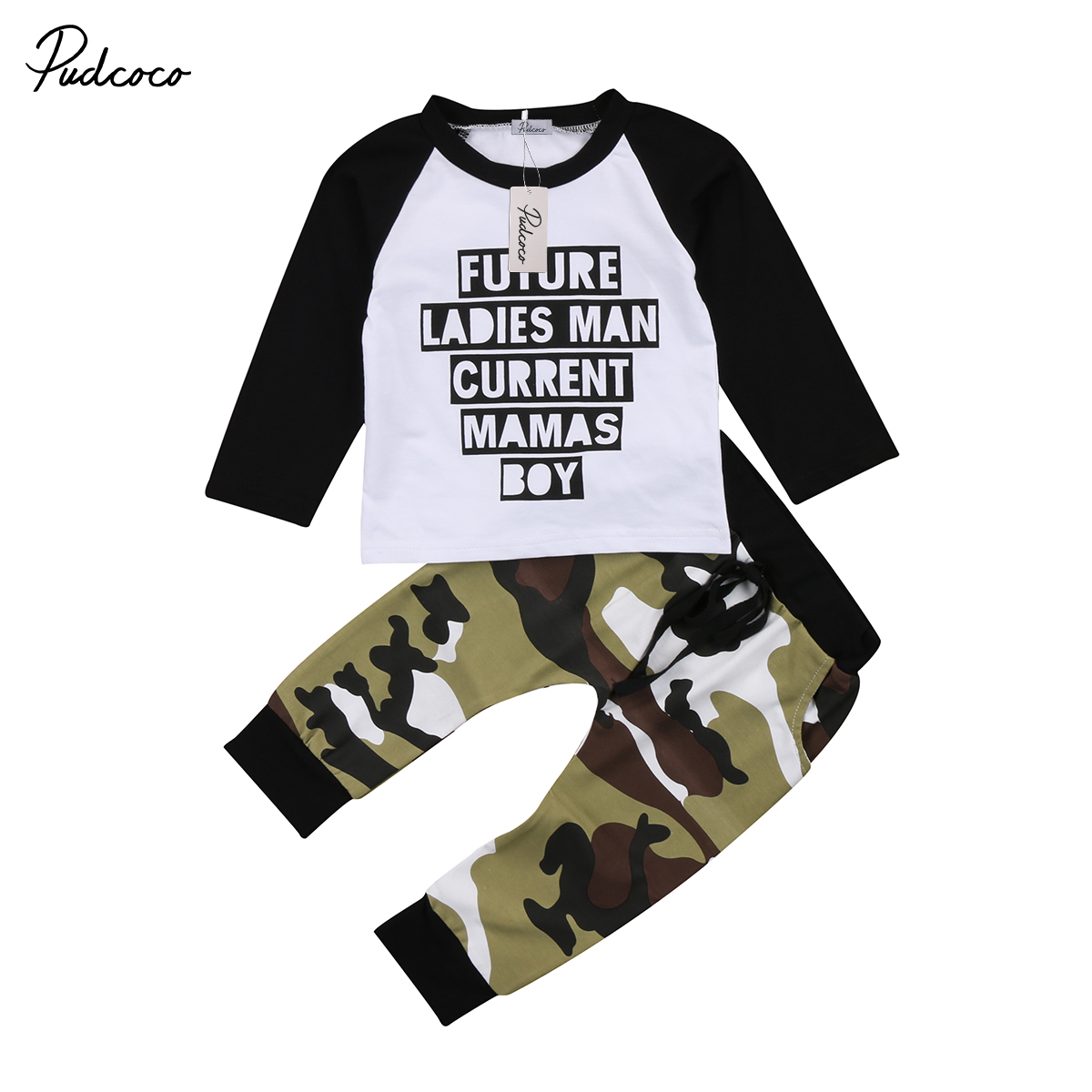 469ce2a86 Pudcoco Toddler Kids Baby Boy Camo Outfits Clothes Long Sleeve T-shirt Tops+Pants  Trousers 2PCS Set