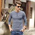 Fashion 2016 o-Neck New Arrive Mens T Shirts Mens Clothing Slim Fit Long Sleeve T Shirt Reticular Casual Tee Shirt Homme  A1107