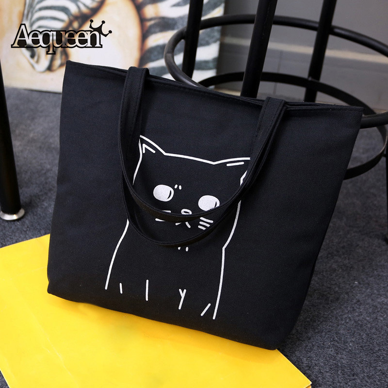 AEQUEEN Cartoon Cat Printed Tote Casual Large Canvas Handbag Portable Reusable Shopping Bag Zipper Women Shoulder Beach Bag 2017 hmunii striped casual tote women canvas handbag casual single shoulder shopping bags beach zipper large bag sac a main bolsa