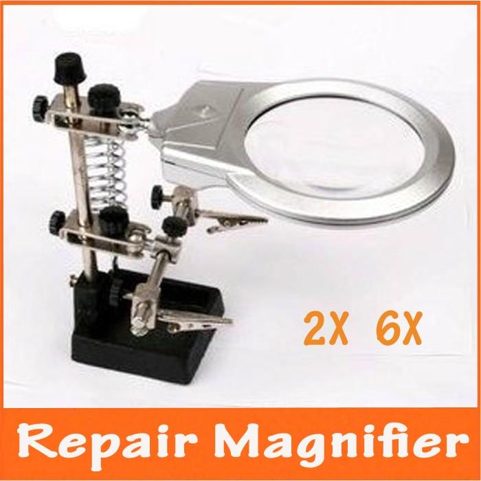 Helping Hand Desk Welding Magnifier 6X Magnifying Desktop Loupe Repair Tools