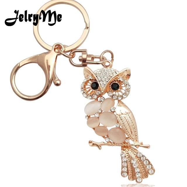 Fashion Women s Keychain Cute Opal Owl Key Chains Holder Full Rhinestone  Female Handbag Pendant Car Keyring Jewelry Accessories d4529d84fa