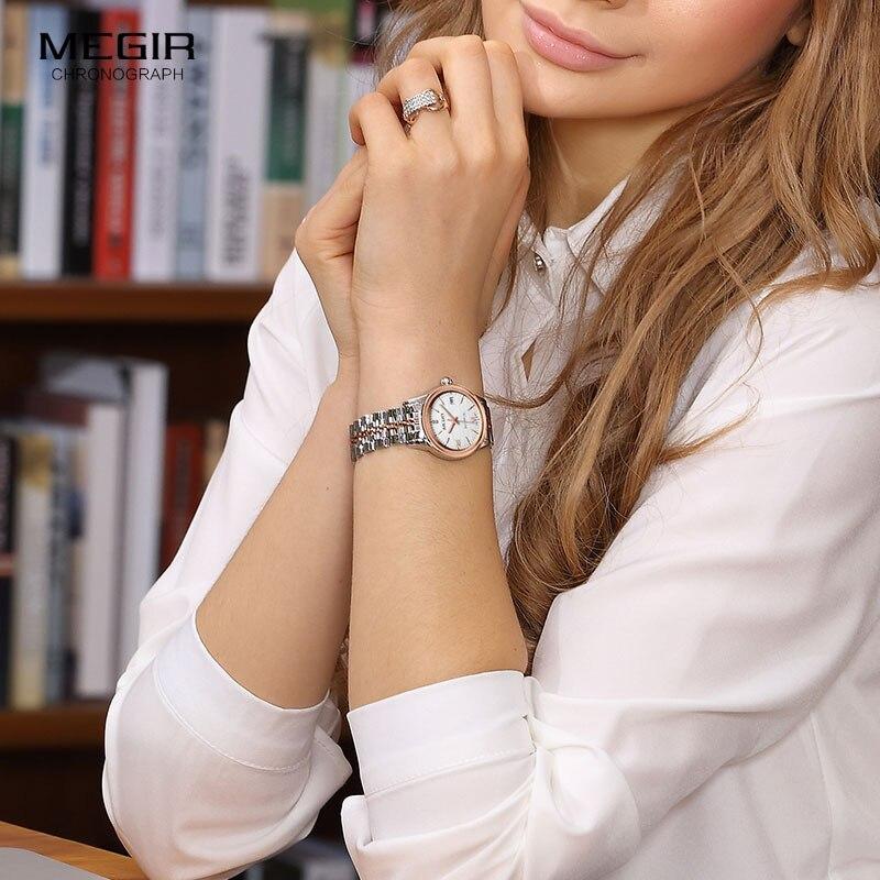 Reloj de pulsera MEGIR para mujer mecánico esqueleto reloj de pulsera 2019 moda Acero inoxidable Casual elegante mujer regalo RS62002LWhite-Rose - 5