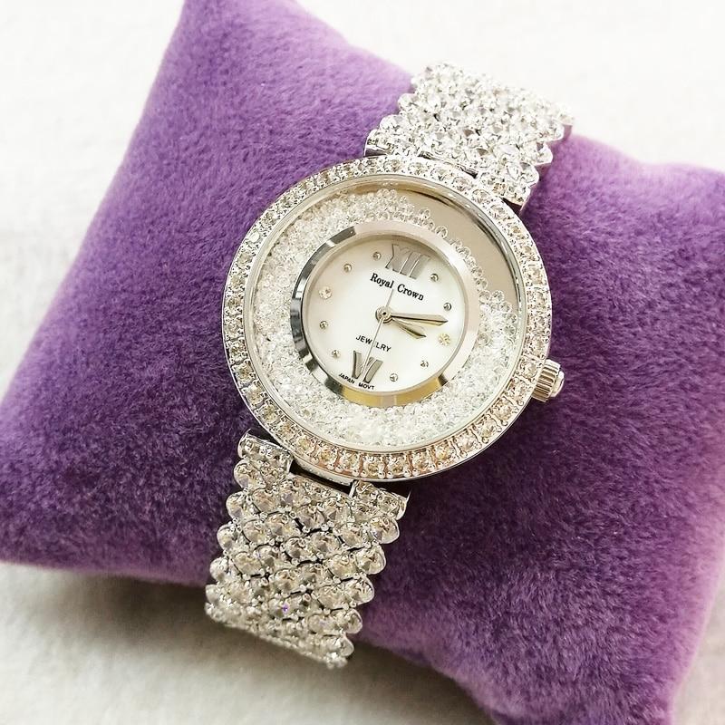 Prong réglage bijoux de luxe dame montre pour femme mode heures de cristal complet robe Bracelet strass fille cadeau Royal couronne boîte-in Montres femme from Montres    2